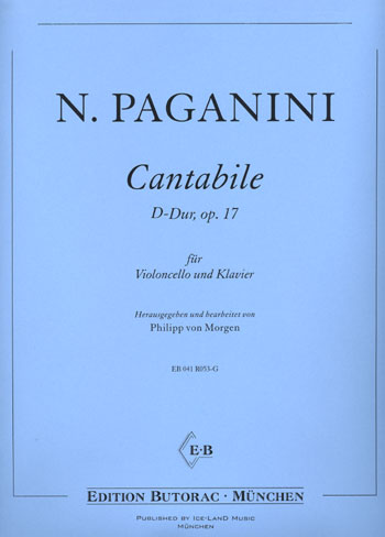 Paganini, Cantabile, op. 17, D-Dur für Cello, Notenausgabe