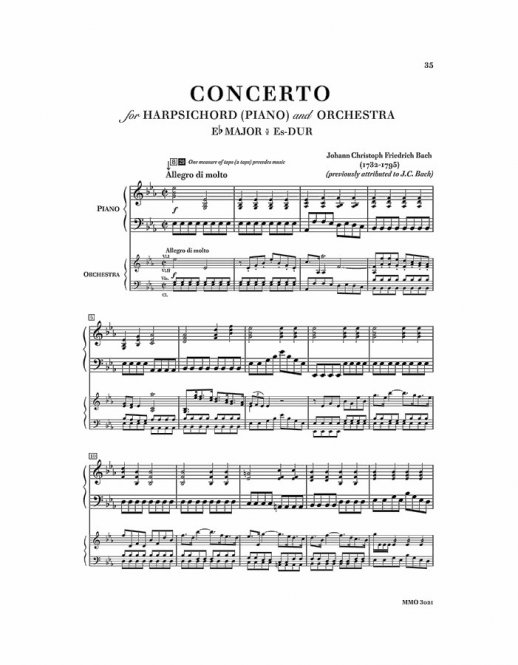 J.S. BACH Concerto in F minor, BWV1056; J.C.Fr. BACH Concerto in E-flat major (D